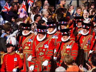 Yeomen of the Guard (Beefeaters) wearing the ceremonial uniform